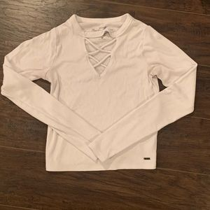 White Long Sleeve Hollister Tee With Crisscross🤍